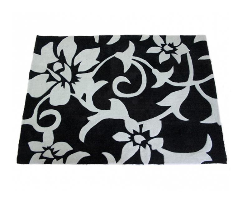 Tapis shaggy moderne noir et blanc 120 x 170cm pegane comparer les prix de - Tapis shaggy noir et blanc ...