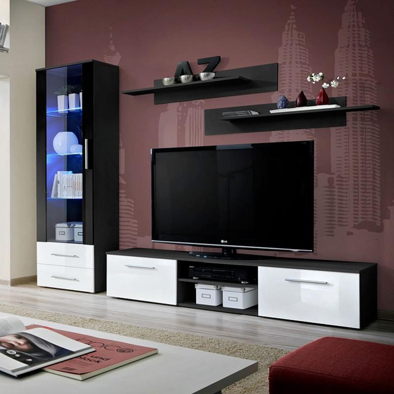 Ensemble meuble tv & bibliothèque galino i black blanc & noir