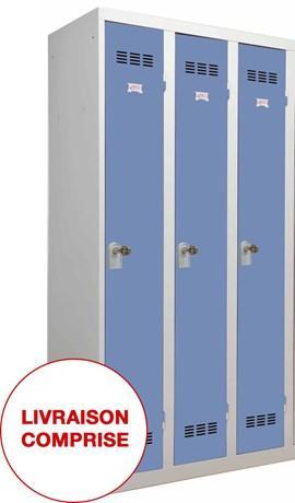 VESTIAIRE INDUSTRIE PROPRE 1 CASE 3 COLONNES L.30 CM BLEU