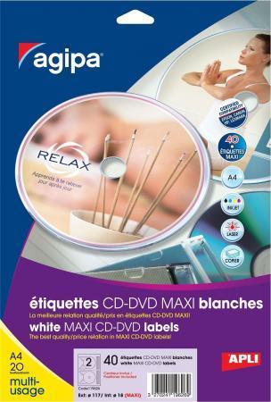 119626 - 40 ÉTIQUETTES CD/DVD MAXI BLANCHES, DIAM. 117 MM (20 FEUILLES / CDT)