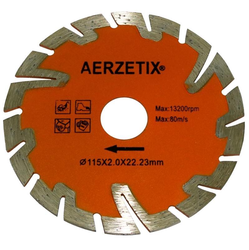 AERZETIX DISQUE DIAMANT CANNELE TUILE BRIQUE POUR MEULEUSE DANGLE TRONCONNEUSE 230MM