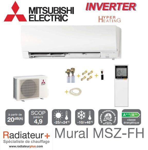 Climatisation Murale Inverter Mitsubishi Prêt à Poser Msz Fh35ve Muz Fh35vehz 3 5kw Kit 03kps1438m1