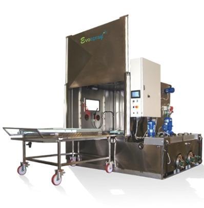 Machine de lavage par aspersion avec plusieurs bains pour volumes et poids