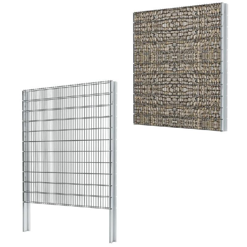 Vidaxl clôture de gabion 2d acier galvanisé 2,008x2,23m 4 m total gris