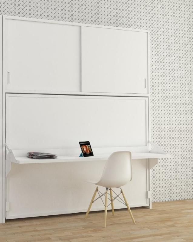 armoire lit transversale hades avec portes coulissantes couchage 140 190cm. Black Bedroom Furniture Sets. Home Design Ideas