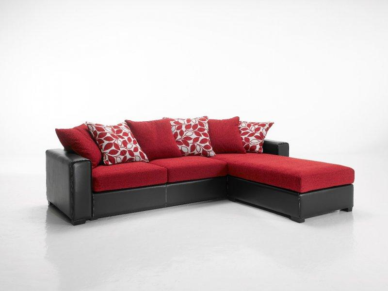 canape d 39 angle reversible kennett tweed rouge et cuir. Black Bedroom Furniture Sets. Home Design Ideas