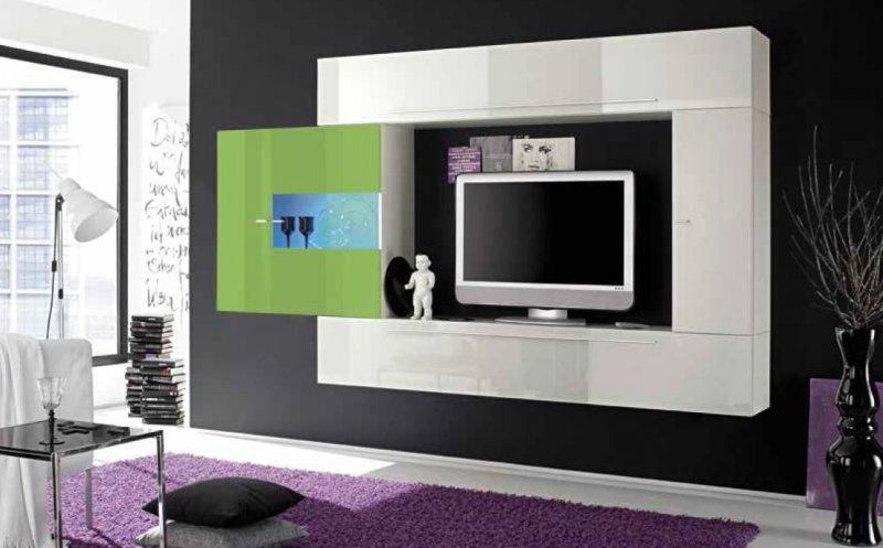 composition murale tv design primera 4 blanc et vert. Black Bedroom Furniture Sets. Home Design Ideas