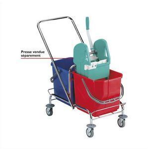 Tts chariot d'entretien duo standard chromé, seaux 2 x 15 litres - dimensions : l72 x h83 x p42 cm