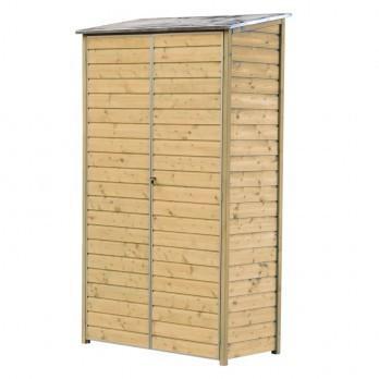 armoire de balcon bois trait 120 x 60 x h 200 cm avec. Black Bedroom Furniture Sets. Home Design Ideas