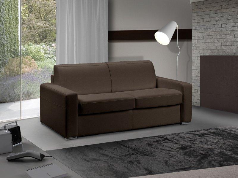canape lit 3 4 places master convertible ouverture rapido 160 cm cuir eco marron matelas 18 cm. Black Bedroom Furniture Sets. Home Design Ideas