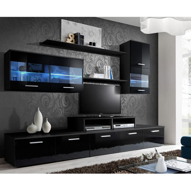 MEUBLE TV MURAL DESIGN 'LOGO 250CM NOIR - PARIS PRIX