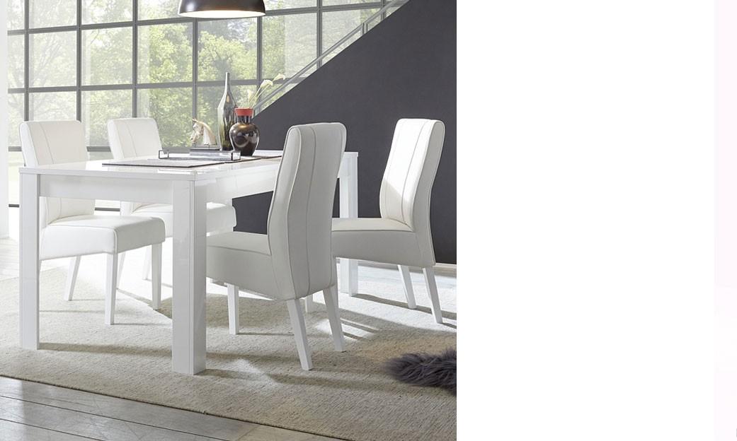 Table a manger avec rallonge blanc laque design atmore - Table blanc laque avec rallonge ...