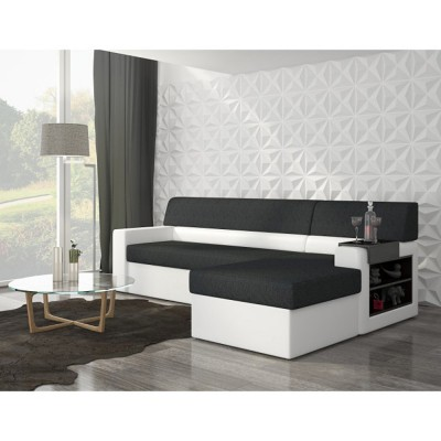 canape d angle convertible 4 places noir et blanc gifi. Black Bedroom Furniture Sets. Home Design Ideas