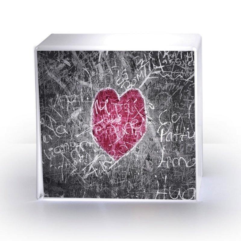 lampe cube coeur plexi acrila design. Black Bedroom Furniture Sets. Home Design Ideas