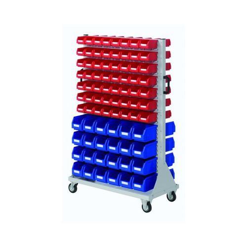 Rack mobile avec panneaux équipés de bacs h1580xl1000xp500mm.