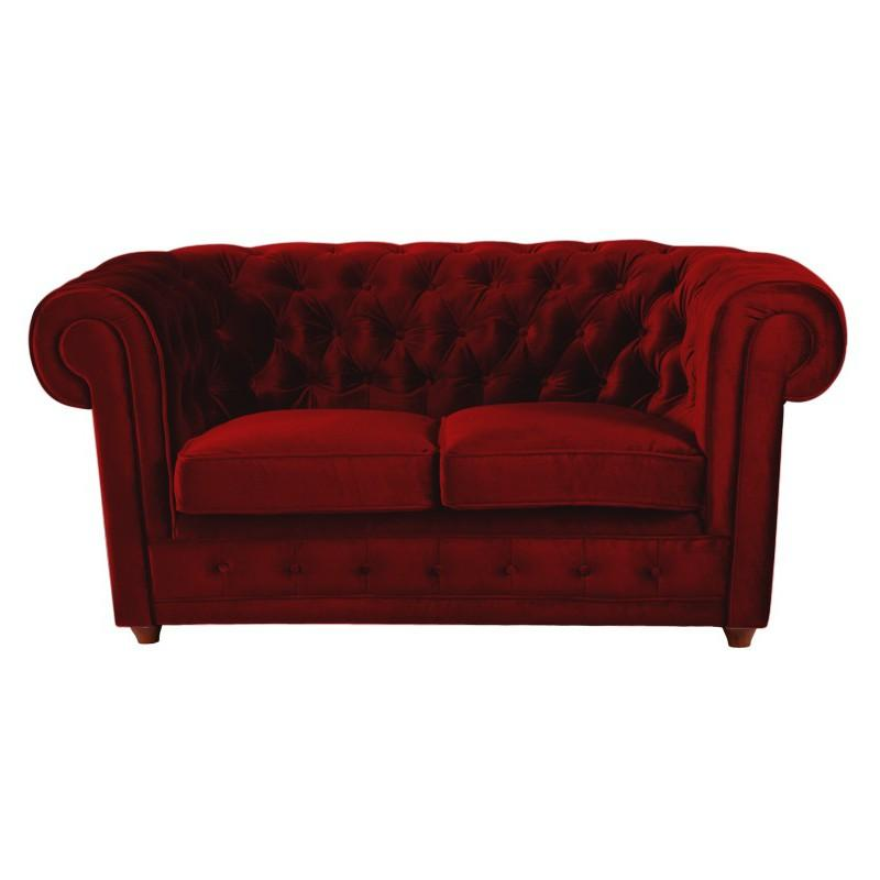 Canape 2 places rouge maison design - Canape chesterfield rouge cuir ...