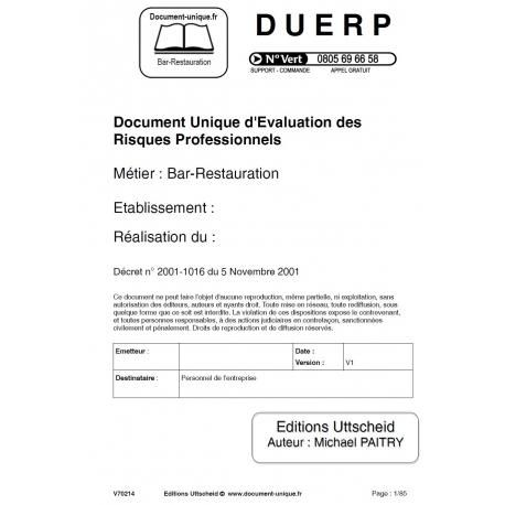 Document unique restauration rapide gratuit