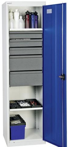 armoire d 39 atelier avec 5 tir 2 tabl h1800xl500xp500mm. Black Bedroom Furniture Sets. Home Design Ideas