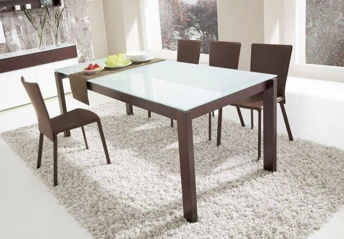 Table a manger wenge verre for Table salle a manger extensible wenge