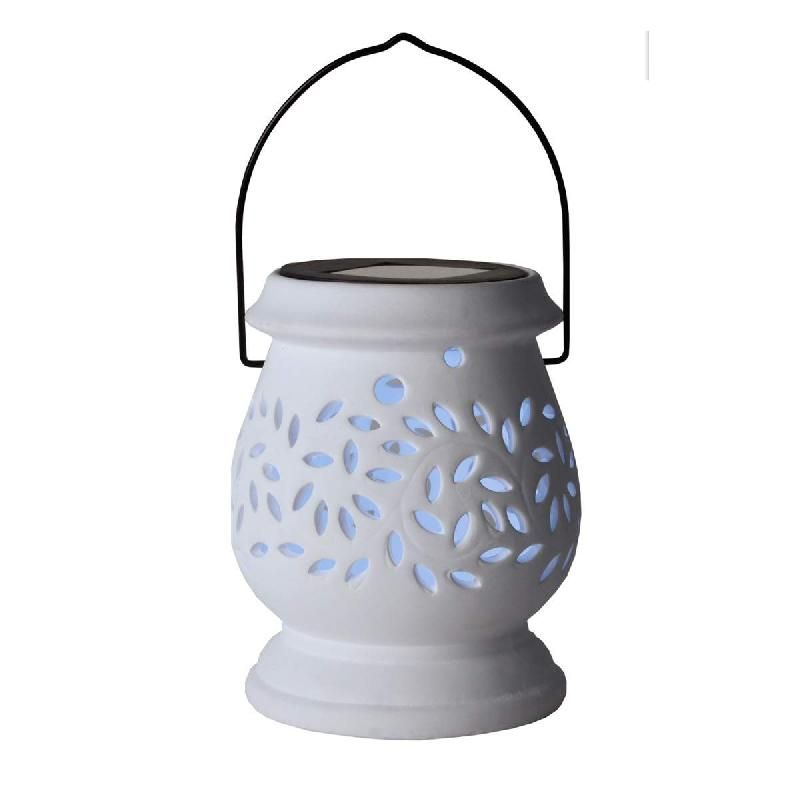 PHOTOPHORE SOLAIRE LED BLANC CLAY LANTERN