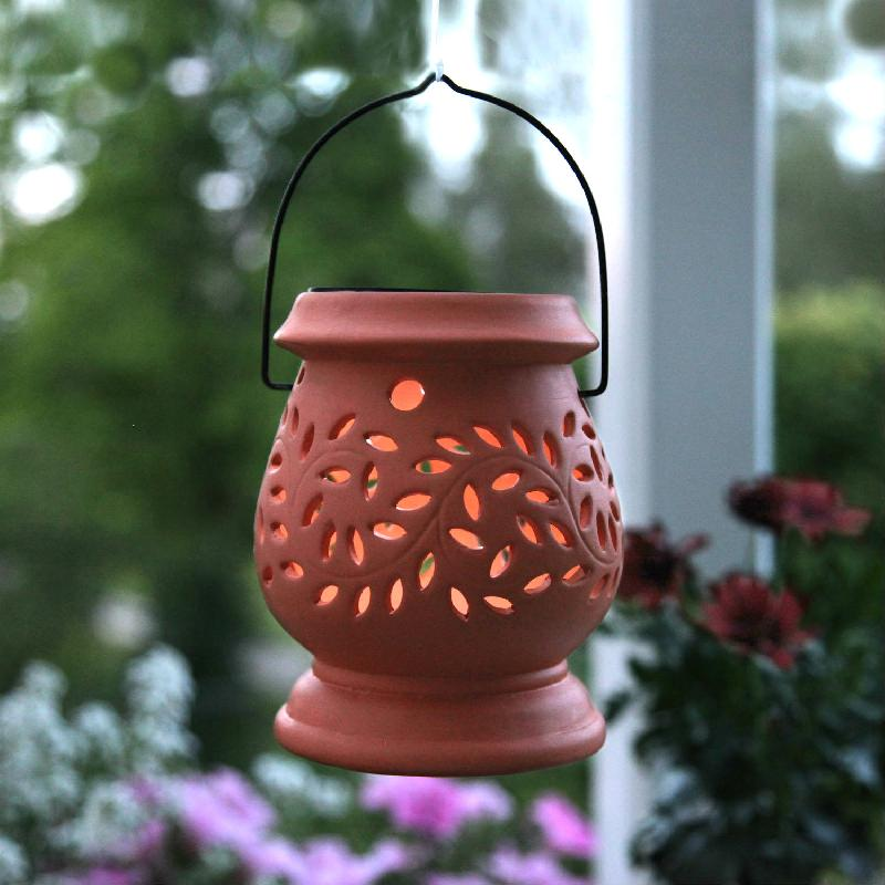 Clay lantern lanterne solaire d 39 ext rieur led terracotta for Lanterne exterieur led