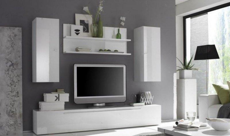 COMPOSITION MURALE TV DESIGN PRIMERA 6 BLANC BRILLANT