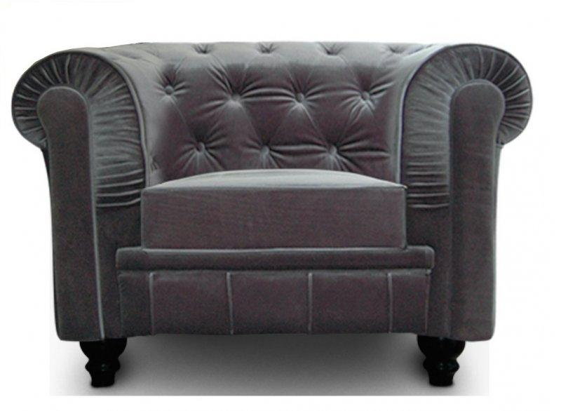 fauteuil chesterfield royal en velours gris capitonne