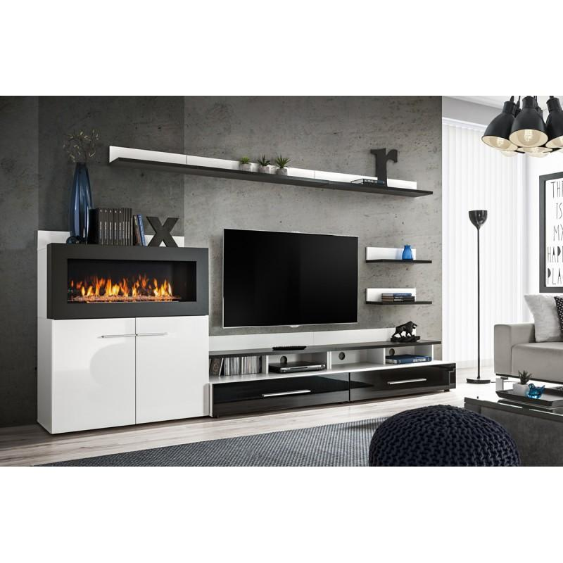 Meuble tv & cheminée camino 290cm noir & blanc - paris prix