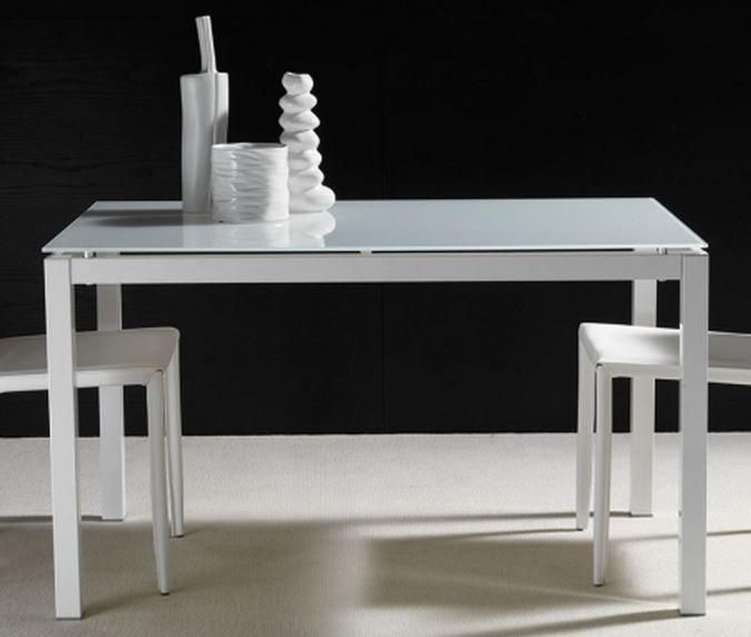 Table repas extensible majestic 130 x 80 cm en verre blanc for Table extensible 80 cm de large