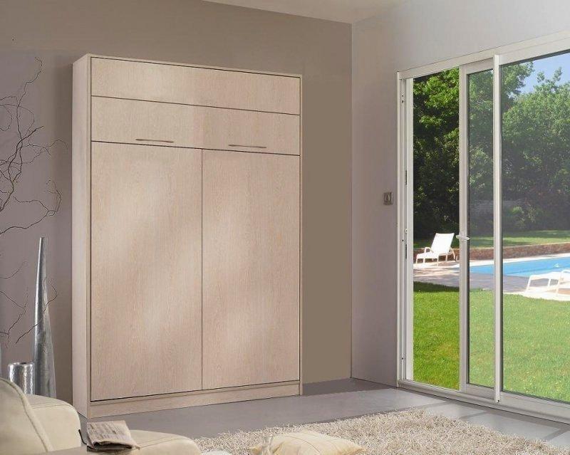armoire lit escamotable jacquelin 140 cm profondeur 26 cm bois chene clair avec eclairage. Black Bedroom Furniture Sets. Home Design Ideas