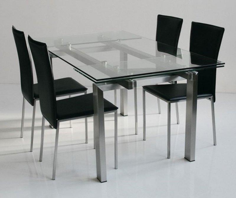 table repas extensible new york verre et acier 160 x 90 cm. Black Bedroom Furniture Sets. Home Design Ideas