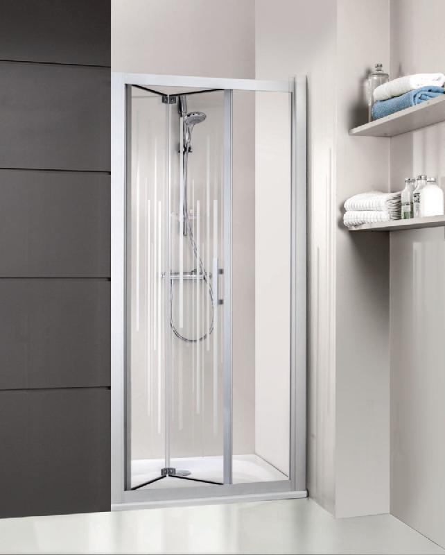 Porte de douche pliante jazz acc s de face pour receveurs de 90cm profil laqu blanc verre - Porte coulissante pour douche de 130 cm ...