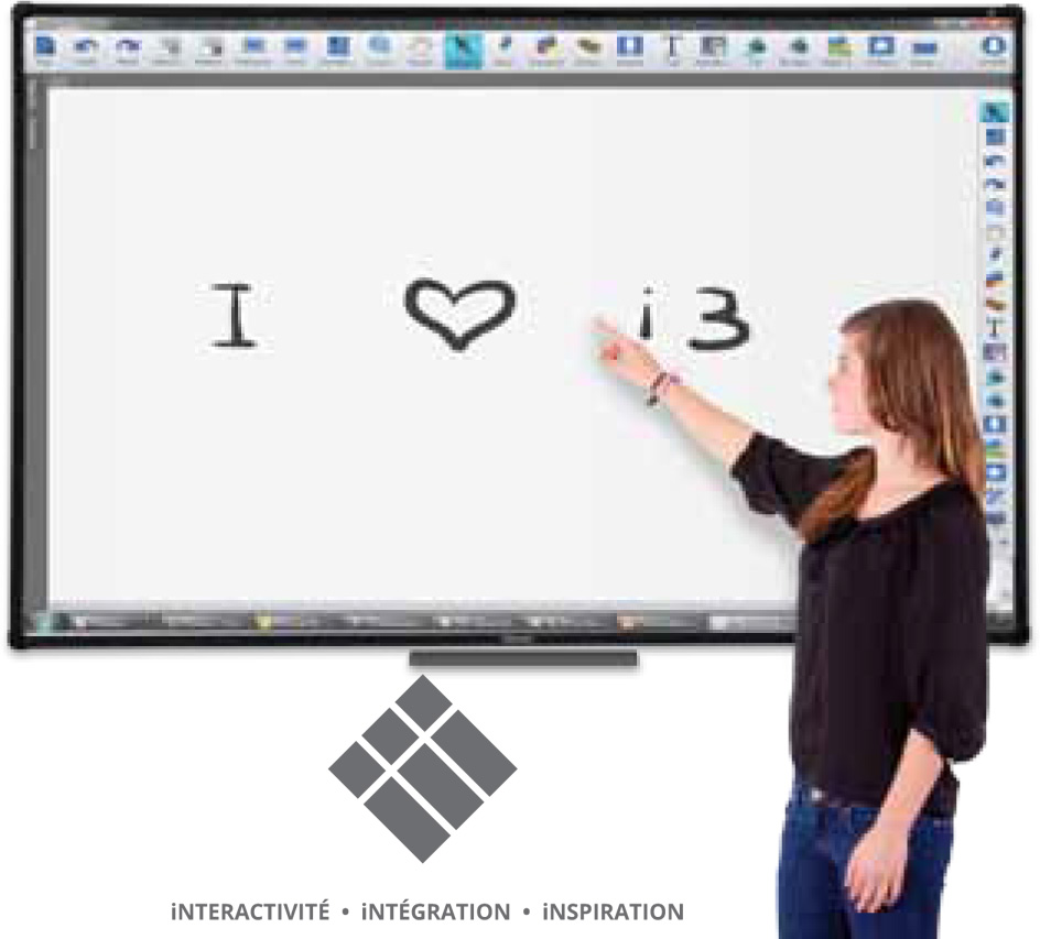 Tableau blanc interactif avec 10 points de contact