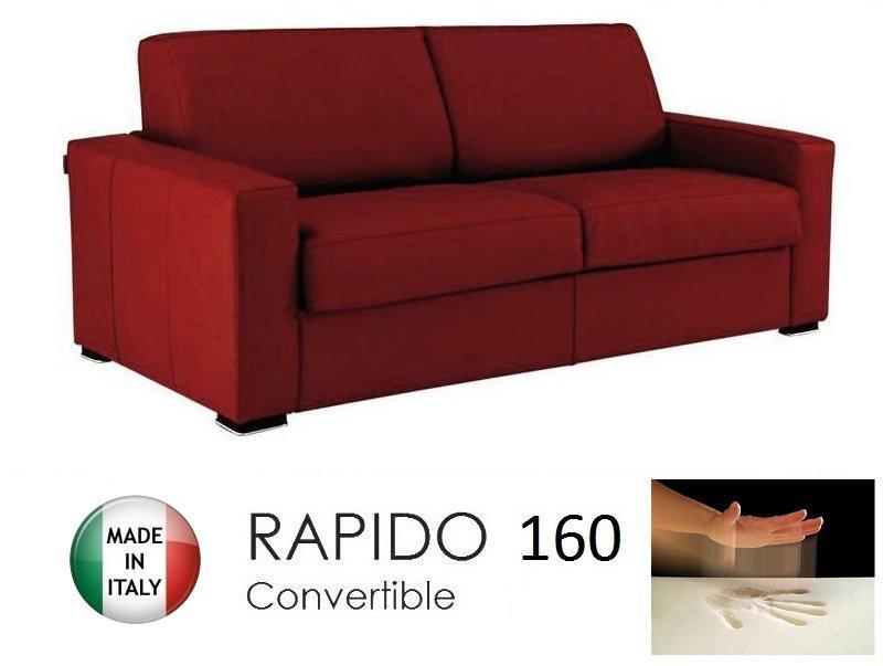 Canape convertible rapido 160cm dreamer cuir vachette bordeaux matelas 160 1 - Canape cuir bordeaux ...
