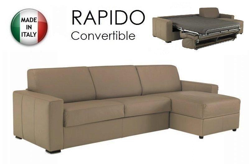 canap d 39 angle dreamer convertible ouverture rapido 140cm cuir vachette taupe clair couchage. Black Bedroom Furniture Sets. Home Design Ideas