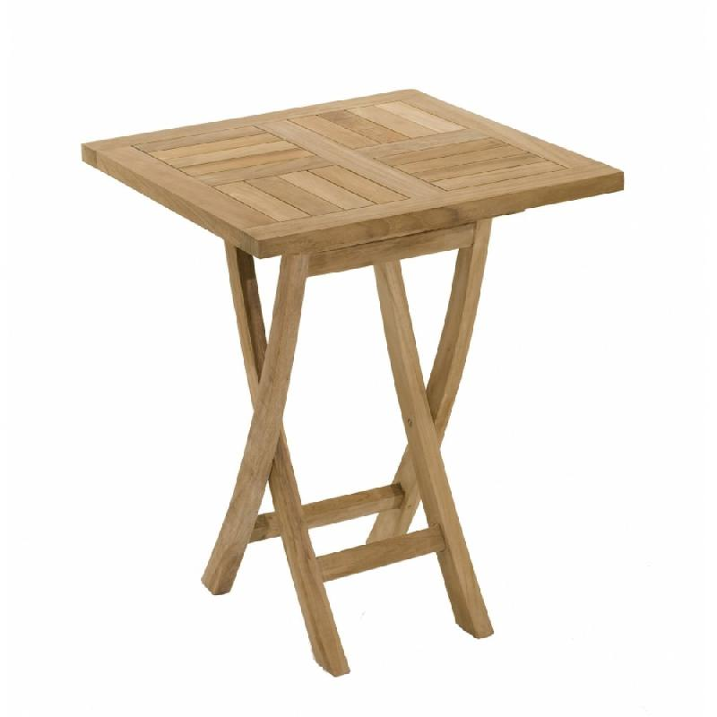 Table carree pliante de jardin 60*60 cm en teck