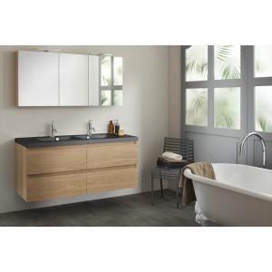 meuble 140 cm 2 vasques table noire armoire de toilette bois massif - Meuble Ceramique 2 Vasques