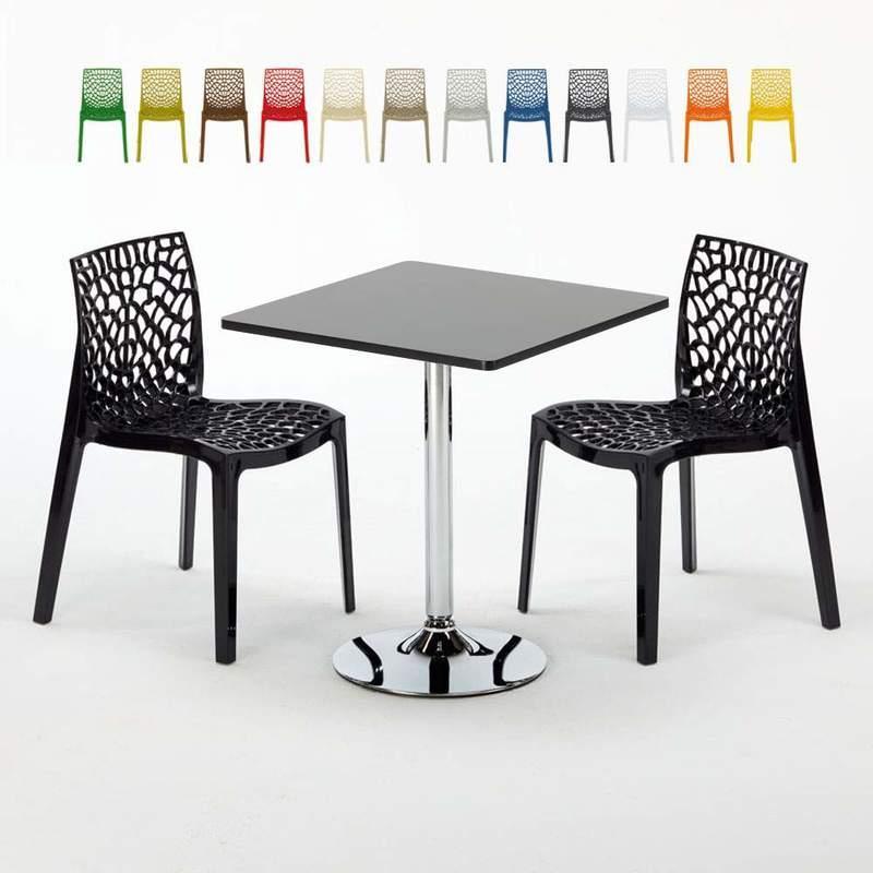 GRAND SOLEIL TABLE RECTANGULAIRE ET 6 CHAISES POLY ROTIN COLORÉES 150X90CM NOIR ENJOY | PARIS MARRON MOKA