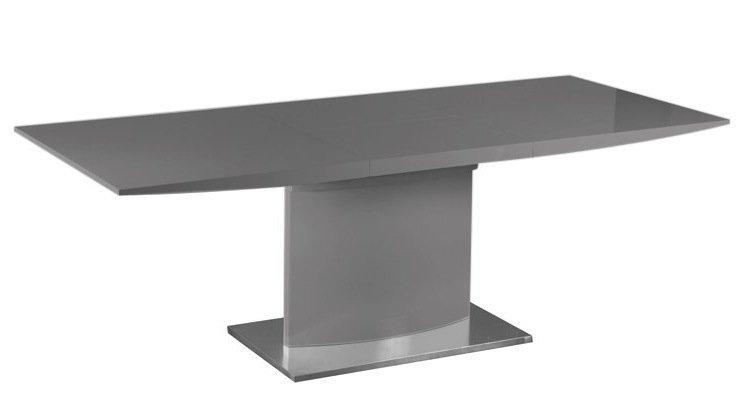 Table extensible concorde laque grise pied central 12 couverts - Table de salle a manger grise ...