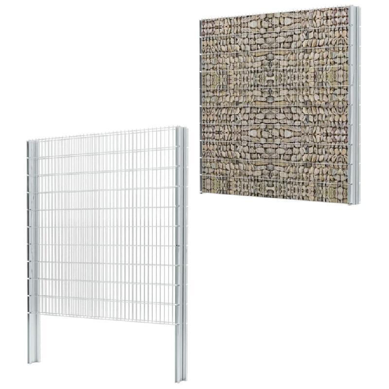 Vidaxl clôture gabion 2d acier galvanisé 2,008x2,03m 18m total argenté