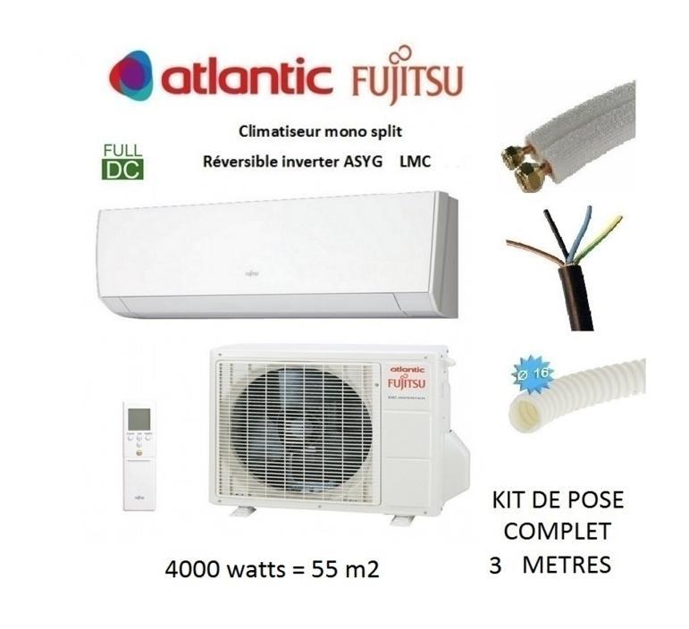 Pret a poser climatisation murale reversible atlantic fujitsu asyg 14 lmc 4 kw 55m2 kit de - Clim reversible pret a poser ...