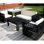 Salon de jardin en resine filaire 5 places noir galaxie fauteuils et canape d - Salon de jardin pas cher cdiscount ...