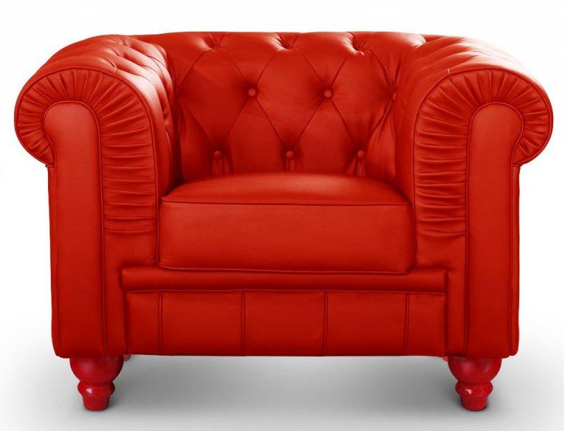 Fauteuil chesterfield royal rouge capitonne - Fauteuil capitonne rouge ...