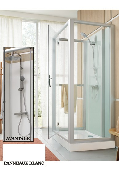 Cabine de douche rectangle 100x80 milieu de mur porte for Cabine douche porte pivotante