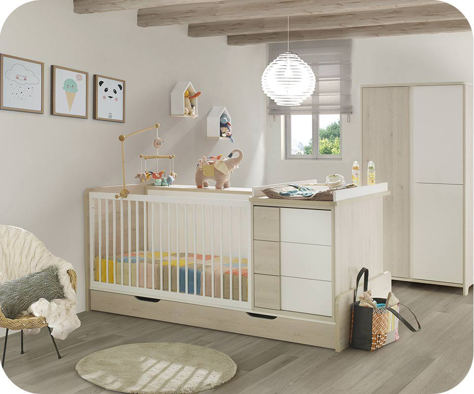 berceau lit bebe combine evolutif lili bois et blanc avec. Black Bedroom Furniture Sets. Home Design Ideas