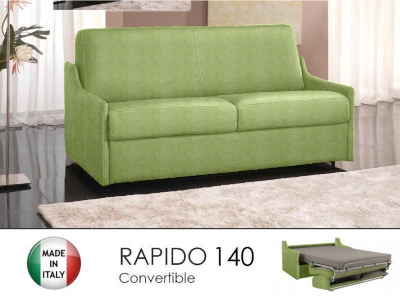 canape lit 3 places luna convertible ouverture rapido 140cm microfibre vert anis. Black Bedroom Furniture Sets. Home Design Ideas