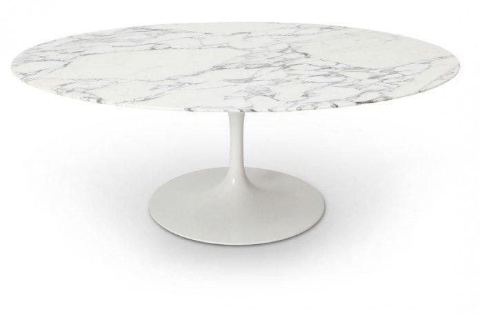 Table ronde de repas design tulipe plateau en marbre gris for Table repas ronde