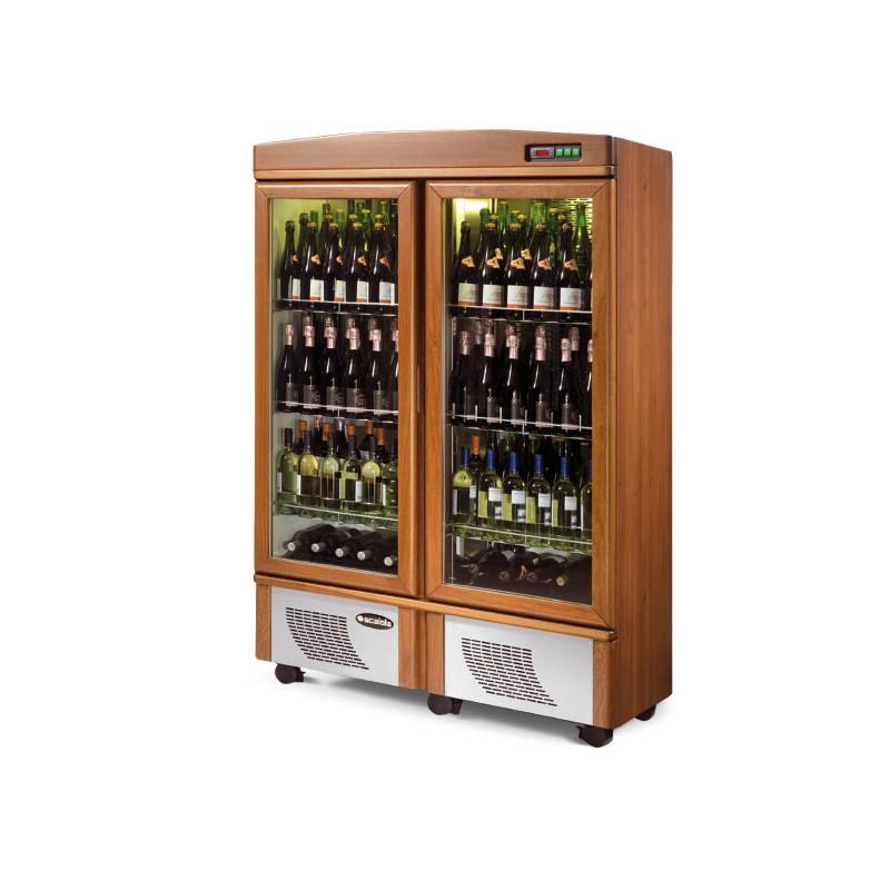 cave vin en bois porte vitr e 190 bouteilles scaiola. Black Bedroom Furniture Sets. Home Design Ideas