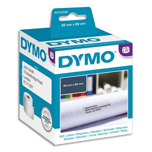 Dymo pack de 2 rouleaux de 260 étiquettes adresse adhésif permanent 36x89mm s0722400