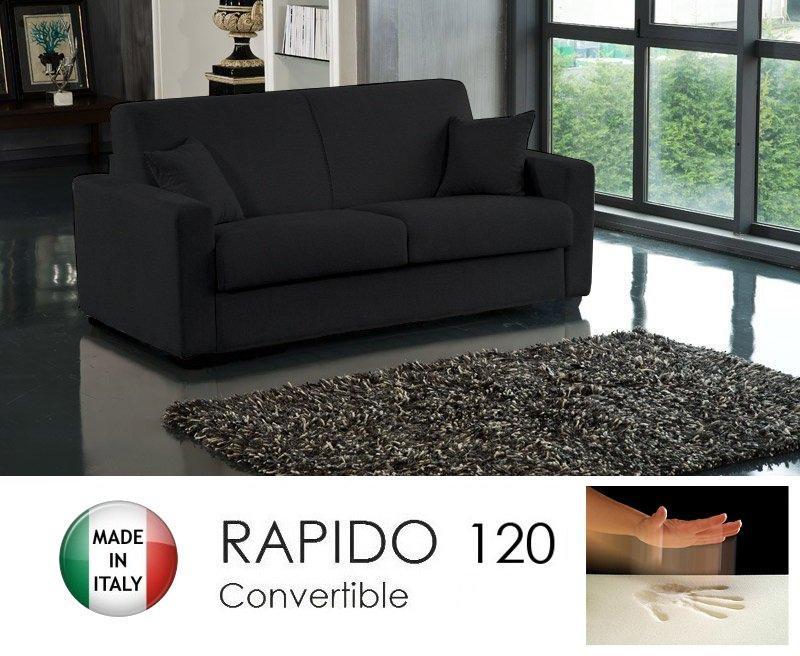 canape convertible rapido 120cm dreamer tissu microfibre noir matelas 120 14 190 cm a memoire. Black Bedroom Furniture Sets. Home Design Ideas